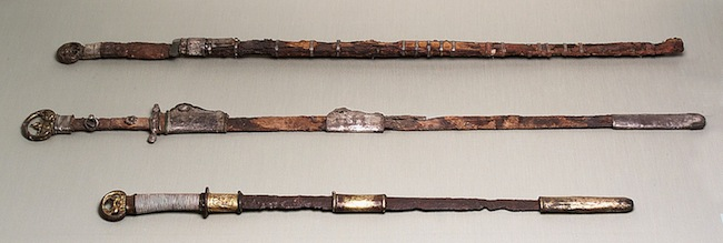 A trio of circa 600 Chinese swords from The Metropolitan Museum of Art. Gift of George D. Pratt, 1930.