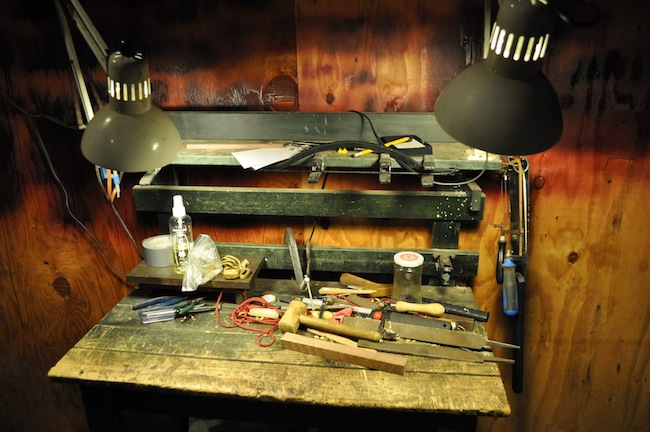 A table in Boyd's workshop, where he does finish work.