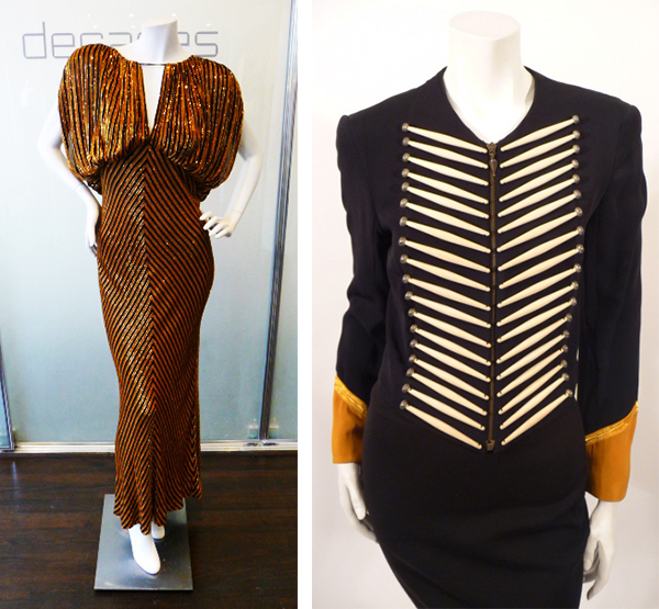 Left, a 1970s Bob Mackie dress with sequined stripes is perfect for the disco. Right, a 1980s band-leader jacket by Turkish-born designer Rifat Ozbek is adorned faux ivory sticks. Via Decades Inc.