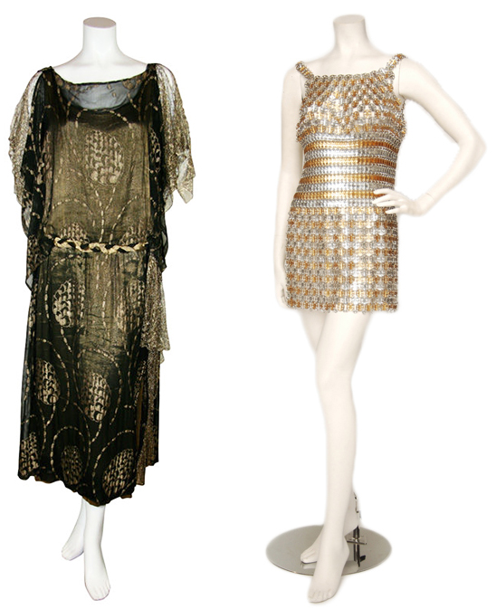 Left, a black chiffon dress with gold-lamé leaf design is one of Raymond's 1920s finds. Right, Raymond offered this aluminum 1960s dress by Paco Rabanne to Lady Gaga for the 2012 Grammys. It is valued at around $50,000, and Raymond has two. Via The Way We Wore.