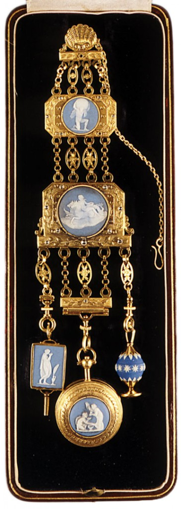 a Regency chatelaine in gold and diamonds with jasper plaques, some made by Wedgwood, including a key, watch, and seal.