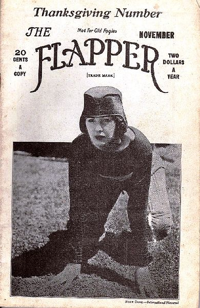 "The Flapper Magazine, which began publishing in 1922, used the tag line, ""Not for Old Fogies."" This issue brazenly depicts a woman playing football, a manly activity."