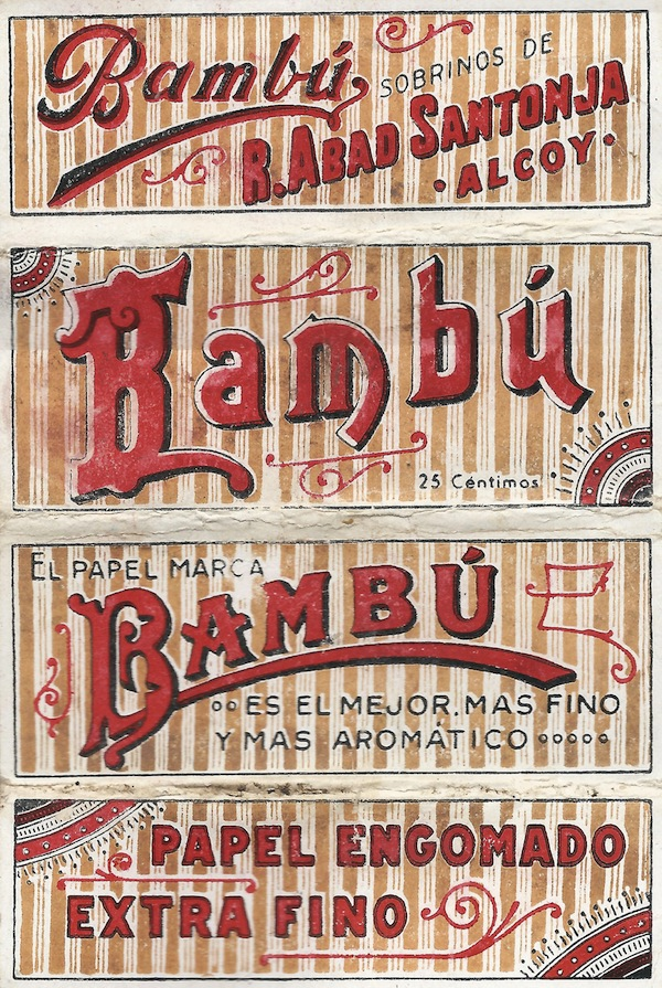 "Top: The poster for Cheech and Chong's 1978 film, ""Up In Smoke,"" was based on the design of Bambu rolling papers. Above: This booklet is from around 1907."