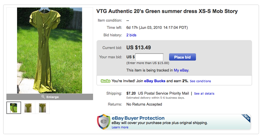 A screenshot of the eBay listing for a silk dress reportedly worn during a mob-related killing in the 1920s.