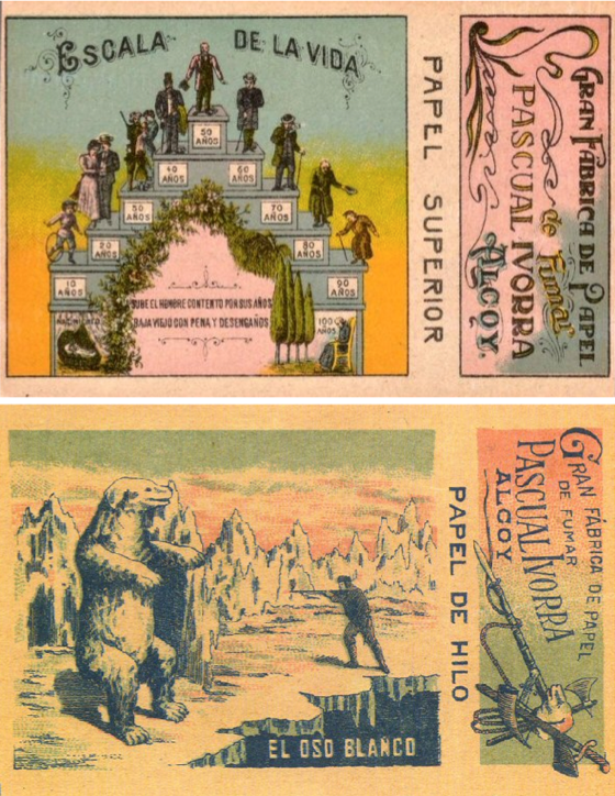 The colorful booklet at top is from 1923. The one of the hunter shooting the polar bear below it is from 1902.