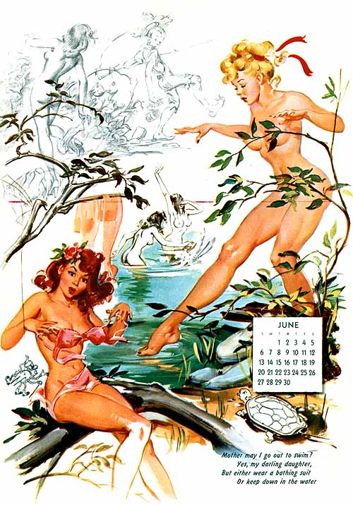 A titillating page from a Ballantyne Artist's Sketch Pad calendar.