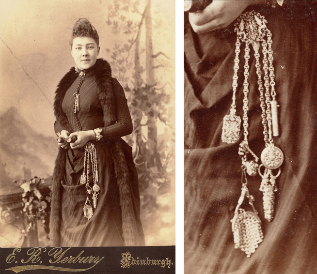 A cabinet card circa 1880 shows a well-dressed woman wearing a needlework chatelaine, a rarity in posed photographs.