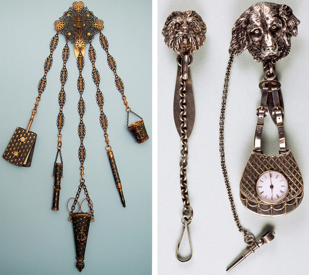 "Left, this ""Faith, Hope, and Charity"" chatelaine may have been a mourning piece, as it contained a romantic quote by Henry Wadsworth Longfellow. Right, two sporting-themed chatelaines featuring dog's head medallions."