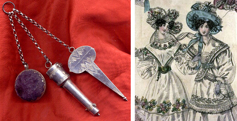 "Left, an very early sewing chatelaine, circa 1680, complete with a pincushion ball, combined needle case and thimble holder, and scissors case. Right, an engraving from ""The World of Fashion"" in 1829 depicted a stylish chatelaine fitted with a small key, worn by the woman on the left."