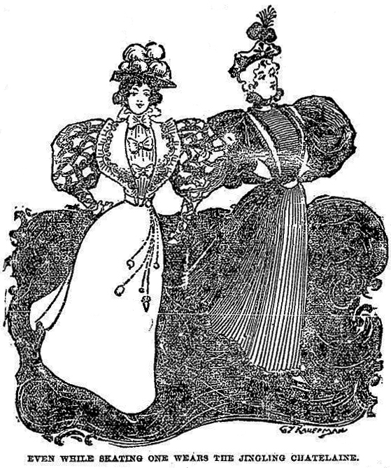 "An illustration from Iowa's ""Milford Mail"" newspaper in 1896 depicts a woman wearing a ""jingling chatelaine"" even while ice skating."