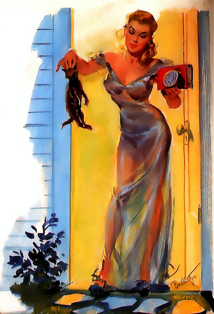 Everyone throws their cat out for the night in a translucent nightgown, right? This is a recurring theme in Ballantyne pin-ups.