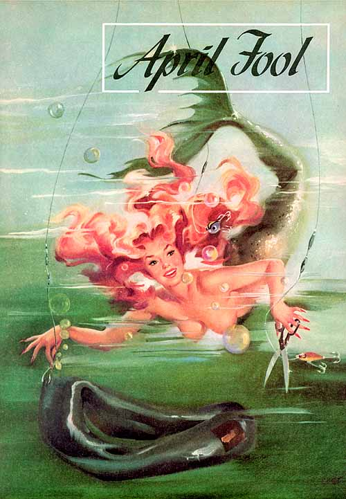 "Ballantyne caused a stir when she painted this topless mischievious mermaid for the family-oriented outdoors magazine ""Sports Afield."""