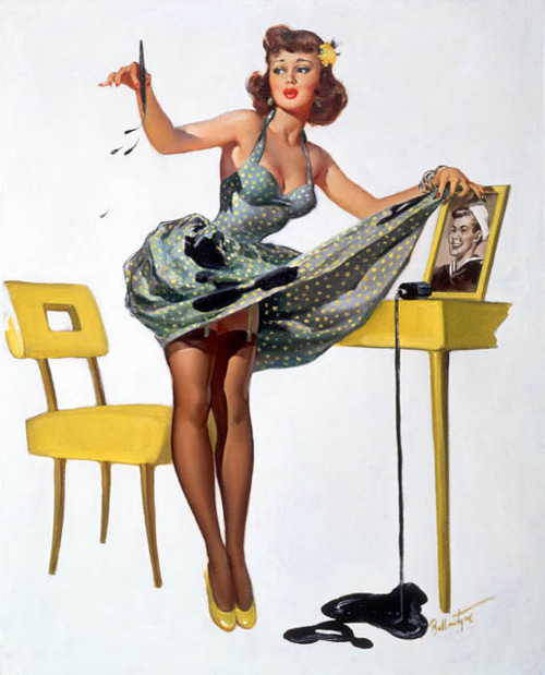 Like her friend and colleague Gil Elvgren, Ballantyne specialized in putting girls in accidentally sexy situations.