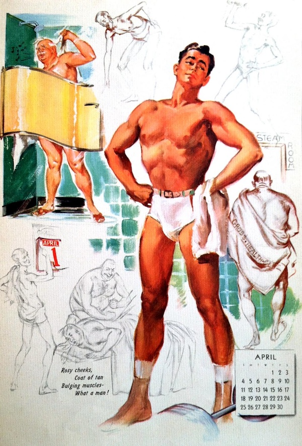A rare male pin-up (possibly based on Ballantyne's husband, Jack Brand) for one of Ballantyne's Artist Sketch Pad pages.