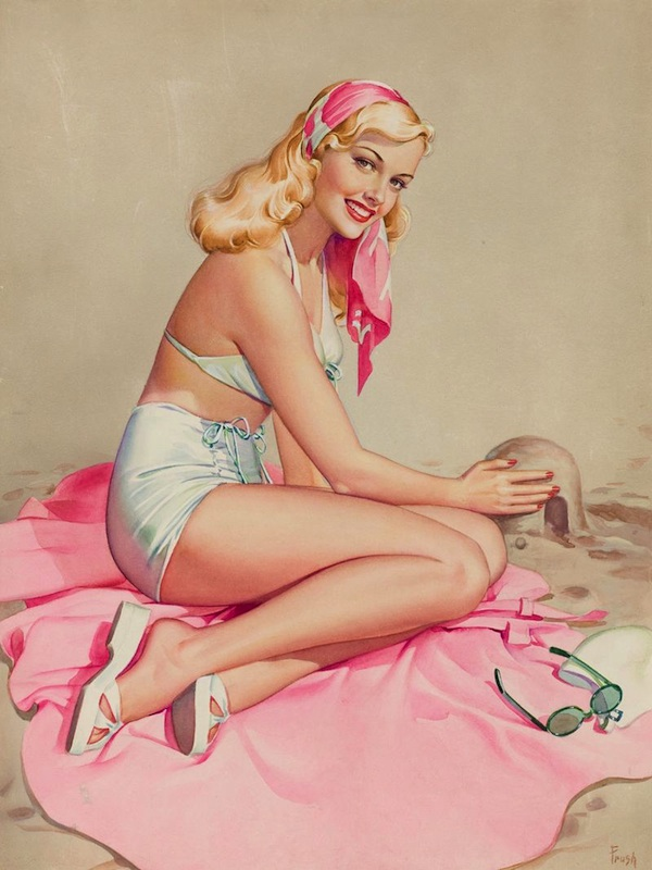 "Many pin-up lovers consider Pearl Frush to be talented on the level of renowned ""Esquire"" pin-up artist Alberto Vargas."