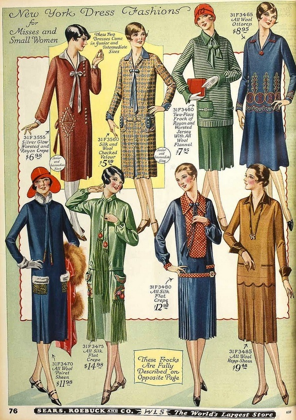 A page from the 1926 Sears, Roebuck & Co. catalog, full of flapper-inspired fashions. Via ArtDecoBlog.blogspot.com