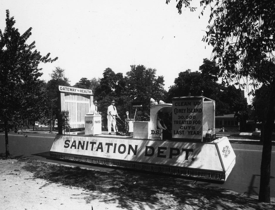 In the early 20th century, New Yorkers took pride in sanitation, as evidenced by the department's participation in many public parades and ceremonies like this float from the 1940s.