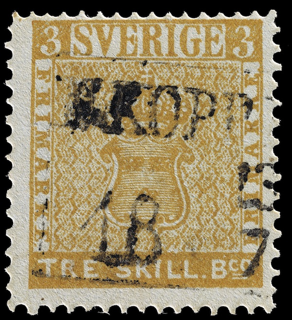The Treskilling Yellow—a one-of-a-kind 1857 Swedish stamp that was printed in the wrong color—has been the source of scandals for 150-plus years. Worth millions, its current location is unknown. (Via GlenStephens.com)