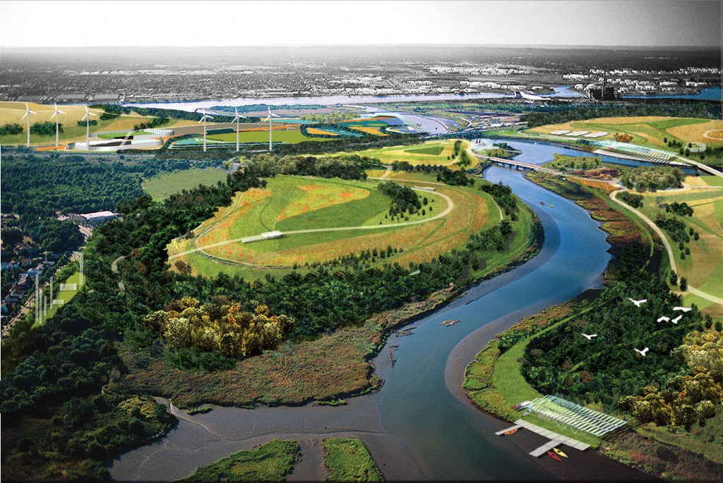 A rendering of the Fresh Kills park project, which is currently underway on the site of New York City's former Staten Island landfill.