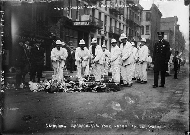 "When Waring's ""White Wings"" first began cleaning up New York streets in the 1890s, they needed police protection from disgruntled residents."