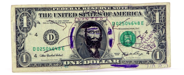 Mutilated-money collector Harley Spiller, a.k.a. Inspector Collector, says this graffiti-covered dollar was given as change. Via mmuseumm.com