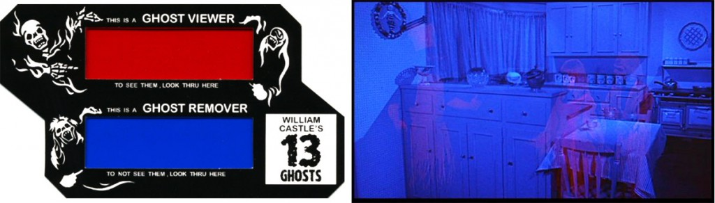 "Using an ""Illusion-O"" ghost viewer during Castle's film ""13 Ghosts"" allowed viewers to hide or display the spectral figures. Right, a still from the film."