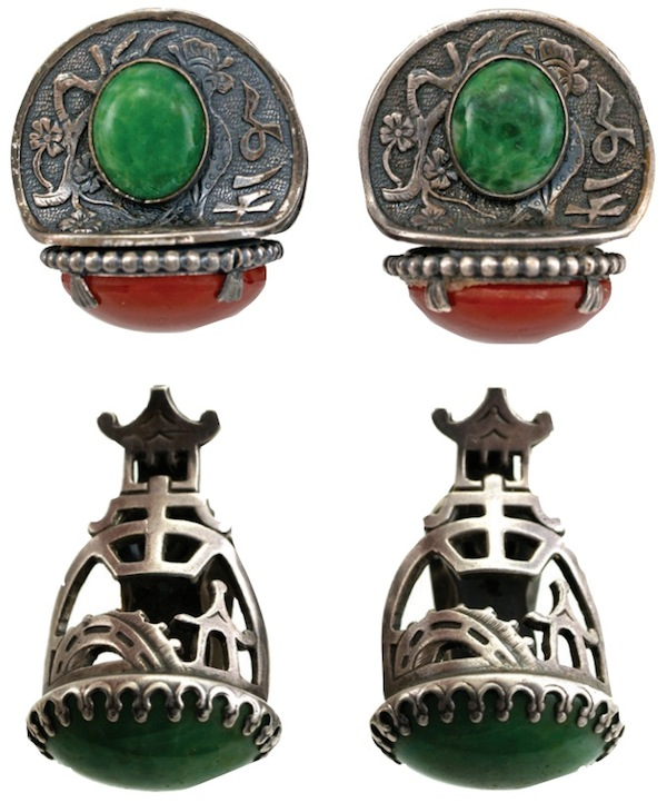 "These two pairs of clipback earrings were designed with Asian-inspired themes. (From ""The Napier Co."")"