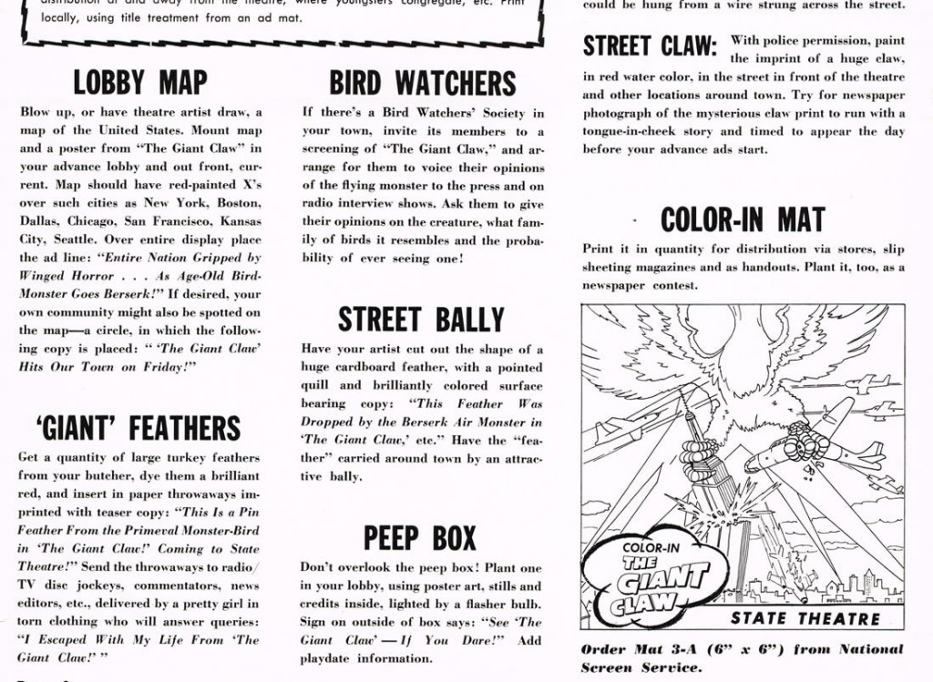 "The pressbook for ""The Giant Claw"" included a variety of inane publicity ideas, like the headless drawing at right."