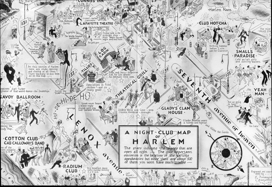 "This 1932 map of Harlem nightclubs show Gladys' Clam House, boasting that she wears ""a tuxedo and highhat."" (Via YeahMan.com, Ventura, CA, Swing Dance Club)"