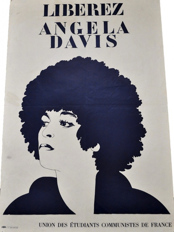 "A French ""Free Angela"" poster highlights Davis's beauty."