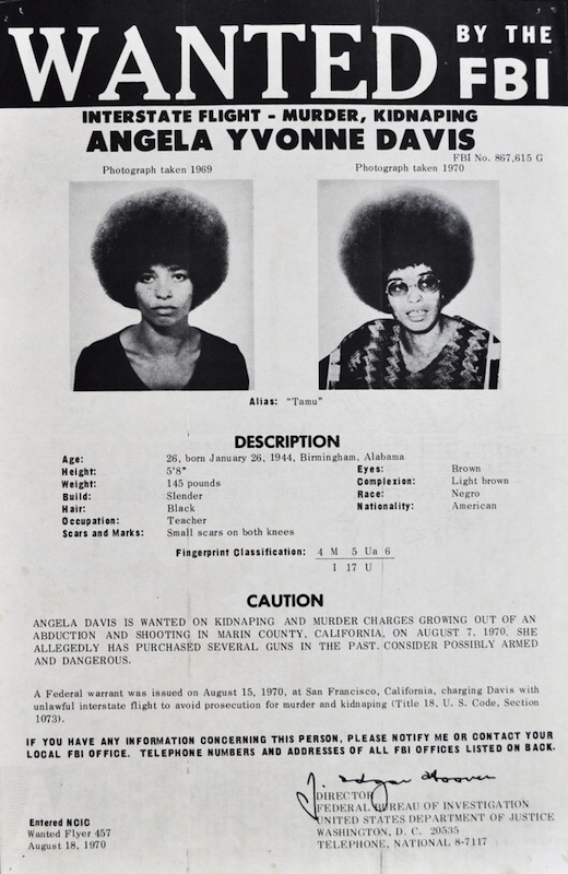 "Above: Reprints of the FBI's ""Wanted"" poster of Angela Davis graced the walls of many college dorm rooms in the fall of 1970 when Davis was on the run. Top: Three versions of Félix Beltrán's most famous image of Angela Davis, first printed in Cuba in 1971."