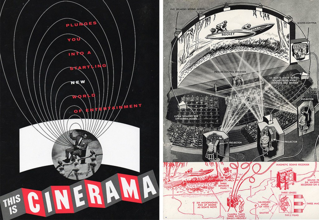 "Top: A 1959 poster for ""The Tingler"" 1959 hints at the film's interactive experience. Above: Launched in 1952, the curved wide-screen projection system called ""Cinerama"" was a precursor to IMAX."