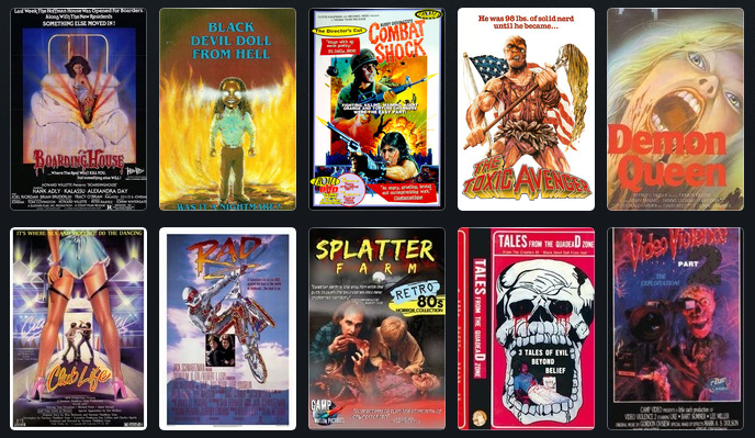 "A few of the VHS covers for films featured in ""Adjust Your Tracking."""