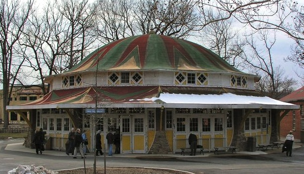 Park carousels usually had their own building, like this structure holding a 1921 Dentzel merry-go-round at Glen Echo Park in Maryland. (© Gary Nance, via carousels.org)