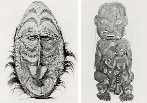 Two more items from the World Museum from 20th century Papua New Guinea, Indonesia: A 4-foot-4-inch Sepik River basketry gable mask, and a 3-foot-7-inch polychrome Yuat ancestor sculpture of a mother nursing a boy. (From the Christie's auction catalog, courtesy of LaDonna Osborn)