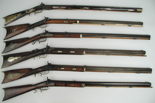 A collection of American longrifles, also called Kentucky rifles. (Via deadlyweapons-army.blogspot.com)