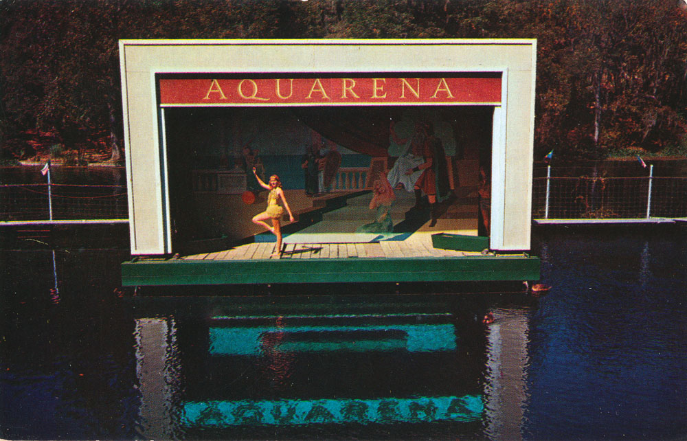 A view of the first Aquarena stage, built to half-in and half-out of the water.
