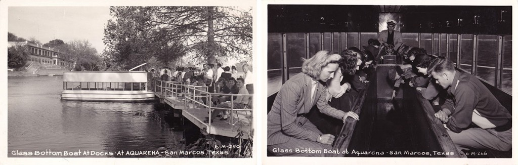 Left, the glass-bottom boat docks and Spring Lake hotel, and right, a view of a boat interior, circa 1930s.