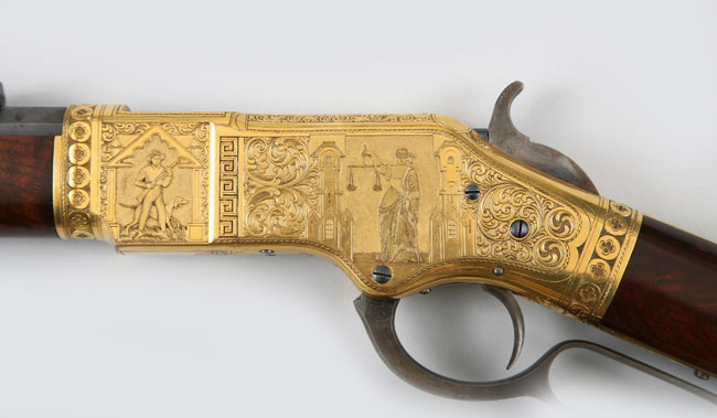 This 3rd Model 1866 Rifle was manufactured by Winchester Repeating Arms Company in 1871 and engraved by Conrad or John Ulrich. (From the George Gamble Collection, Autry National Center)