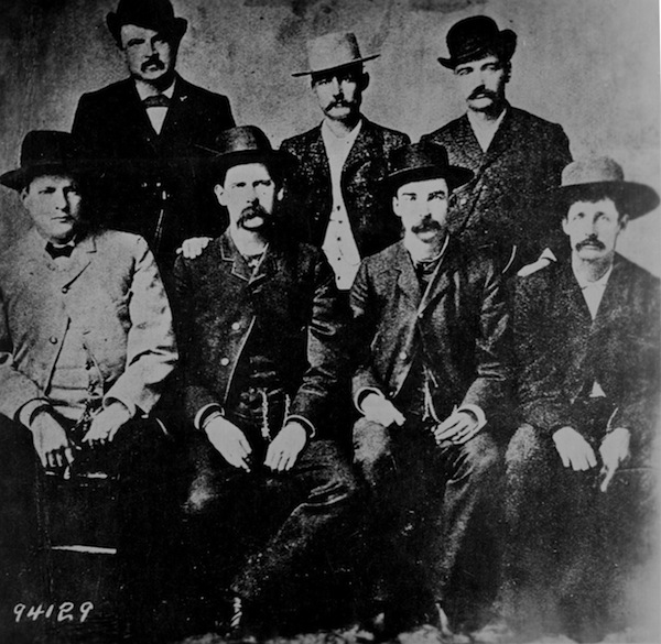 The Dodge City Peace Commission, a vigilante group pictured in 1883, featured (from left) Charlie Bassett, W.H. Harris, Wyatt Earp, Luke Short, Frank McLain, Bat Masterson, and Neal Brown. (Photo by Camillus S. Fly, via WikiCommons)