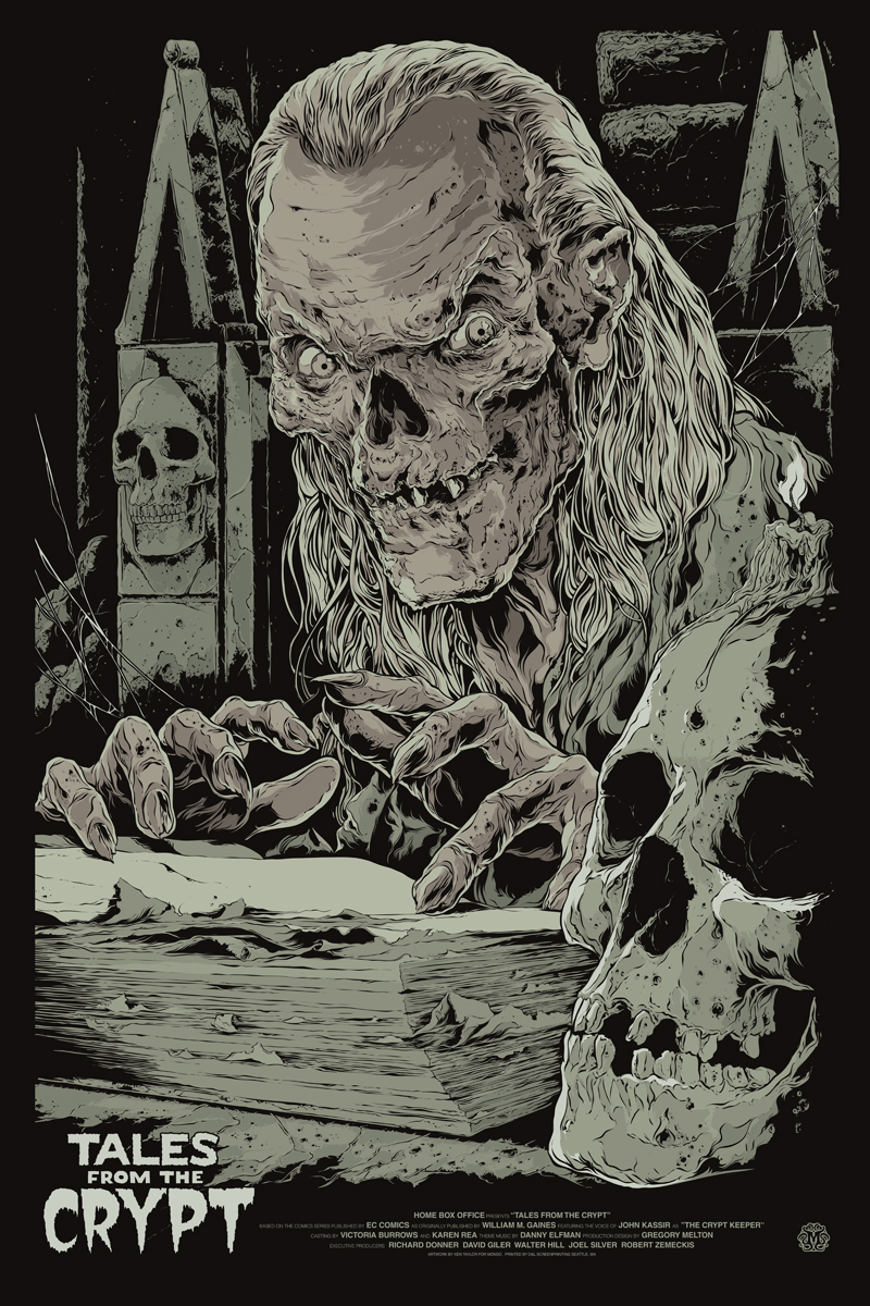 "Australian rock poster artist Ken Taylor designed this Mondo poster for the ""Tales From the Crypt"" TV series, which ran from June 1989 to July 1996 on HBO. In the TV show, the Crypt-Keeper was an animated corpse, as opposed to the living Ghoul-Lunatic from the comic. (Courtesy of Mondo)"
