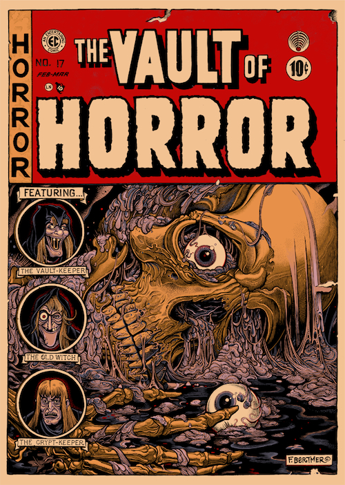 "Florian Bertmer, a modern-day German illustrator from the hardcore punk and metal scene, gives his take on ""The Vault of Horror"" in a piece featured in Mondo's art show. (Courtesy of Mondo)"