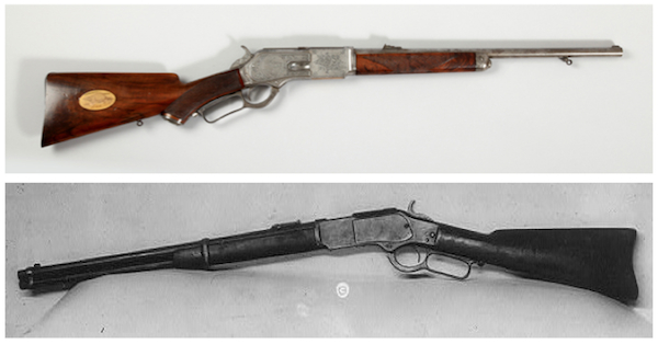 Top: This 3rd Model 1876 Carbine—manufactured by Winchester Repeating Arms Company in 1884 and engraved by Louis D. Nimschke—belonged to President Theodore Roosevelt. (From the Autry National Center) Above: This Winchester repeating rifle, photographed in 1921, is thought to have belonged to outlaw Jesse James. (From the Library of Congress)