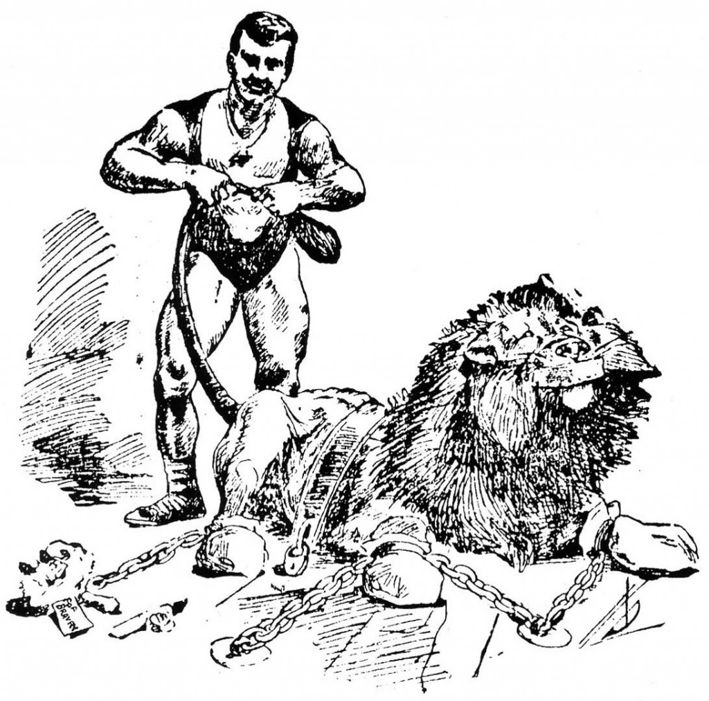 A San Francisco newspaper illustration of Sandow's encounter with a subdued lion. Courtesy David Chapman.