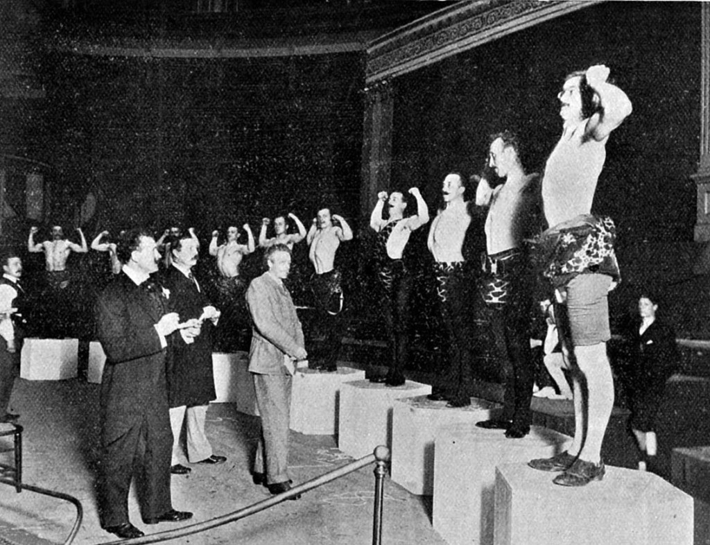 The contestant lineup for Sandow's Great Competition in 1901 at Royal Albert Hall.