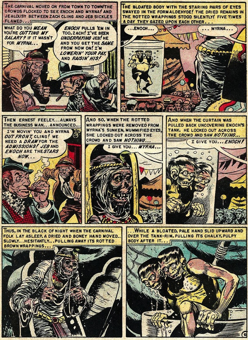"The Jack Davis-drawn story ""Lower Berth!"", appearing in the December 1952-January 1953 issue of ""Tale From the Crypt,"" explains the origins of the Crypt-Keeper, who came about after two sideshow corpses fall in love. (Via HairyGreenEyeball.blogspot.com)"