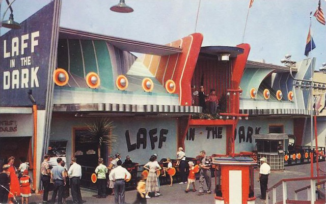 A vintage photo of a Laff in the Dark ride at the Pike boardwalk in Long Beach, California. (Via Long Beach Heritage Museum)