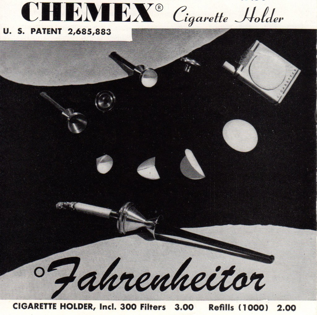 Schlumbohm's cigarette holder incorporated a tiny Chemex using size-appropriate filters like those for making coffee.