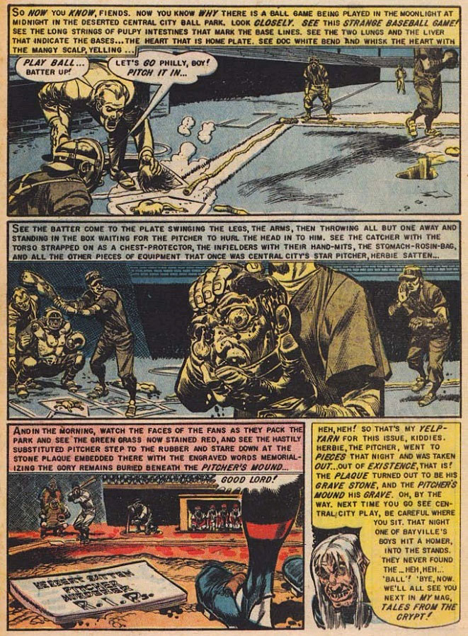 "The final panels of ""Foul Play!"", a ghoulish Jack Davis-drawn revenge story from ""The Haunt of Fear,"" which was cited in Frederic Werthem's ""The Seduction of the Innocent"" as a tale that could corrupt young minds. (Via BestHorrorComics.com)"