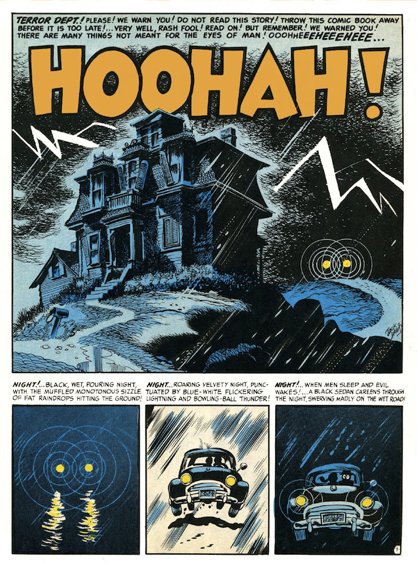 "For the first issue of ""Mad,"" for October–November 1952, started with ""Hoohah!"", a lighthearted spoof by Jack Davis mocking the horror genre, which was his bread-and-butter. (Via Francois-Corteggiani.com)"
